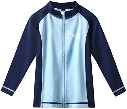 LAPASA Easy-Wear Boys/Girls' Zipper Rash Guard Long Sleeve, UPF50+ Solar Protection (98% Anti-UV), Unisex K02
