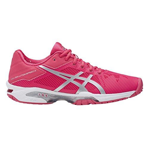 ASICS Women's Gel-Solution Speed 3 Tennis Shoe, Rouge Red/Silver/White, 6 Medium - Shoe Tennis Game 3