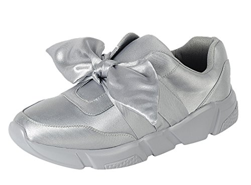 Voor Altijd Link Womens Instapper Stretch Strik Casual Sport Fashion Sneaker Grijs