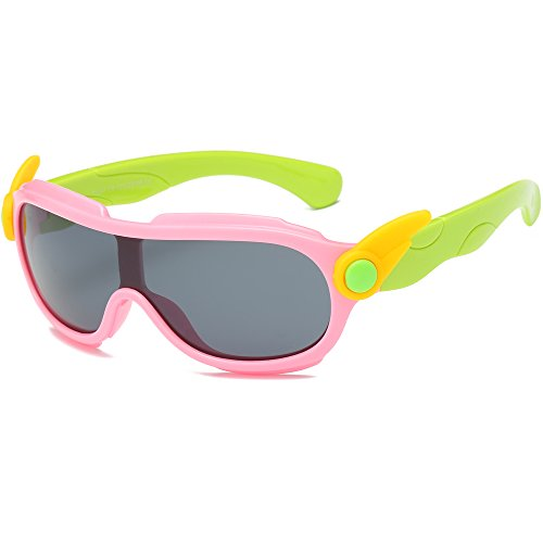 SojoS Kids Rubber Flexible Wing Decoration Polarized Shield Sunglasses SK212 With Pink Frame/Grey - Sunglasses Wing