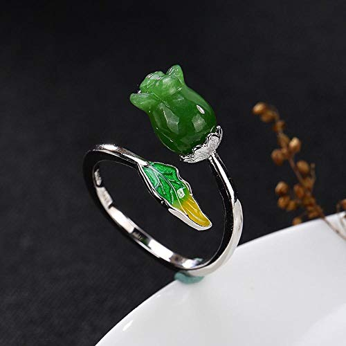 Weiwei Men Ring Rings S925 Sterling Silver Inlaid Natural Jasper Cloisonne Rose Lady Ring