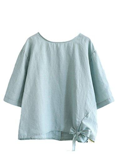 Minibee Women's Cotton Linen Blouse Loose Tunics Tops Shirt 2XL Light Blue
