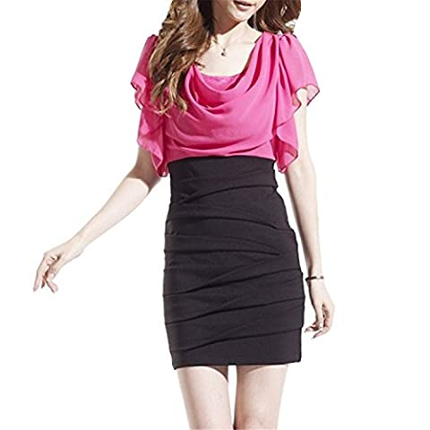 ZackZK Fashion Dress Chiffon Women White Red Black Color Block Short Sleeve Pleated Cowl Neck Patchwork Ruched Office Dress pink with black - Las Vegas Wedding Invitation Wording