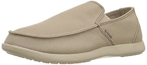 Crocs Men's Santa Cruz Clean Cut Slip-On Loafer, Khaki/Cobblestone, 8 M (Crocs Santa Cruz Men)