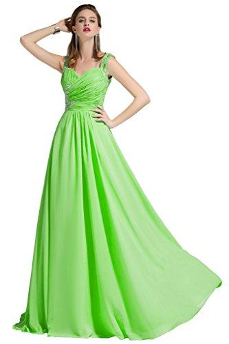 sunvary Romántico appliques una línea novia Vestidos de Fiesta Corpiño plisado con volantes lime green