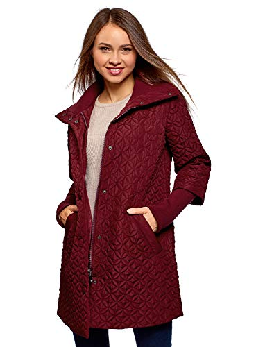 oodji Collection Women's Quilted Stand Collar Coat Red (4903n)