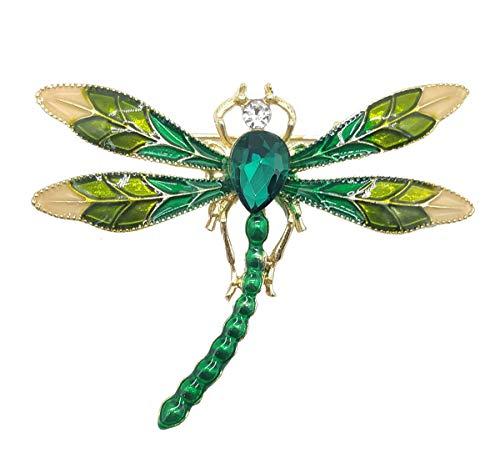 (Wedding Brooch pins Women Bouquet Rhinestone bee Rose Flower Butterfly Pearl (MT Gold Dragonfly Blue))