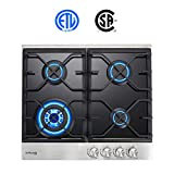 Gas Cooktop, Gasland chef GH60BF 24'' Built-in Gas Stove Top, Tempered Glass LPG Natural Gas Cooktop, Gas Stove Top with 4 Sealed Burners, ETL Safety Certified, Thermocouple Protection & Easy To Clean