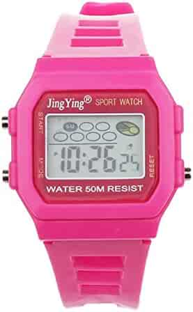 Sannysis Fashion Boy Girl Electronic LCD Digital Round Rubber Sport Wrist Watch Rose