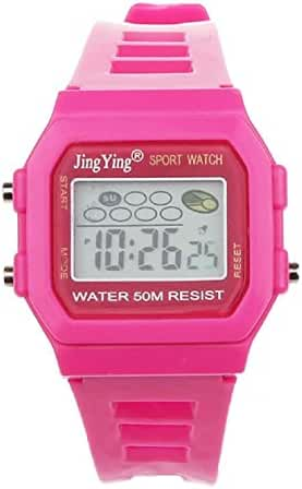 Sannysis Fashion Boy Girl Electronic LCD Digital Round Rubber Sport Wrist Watch Rose