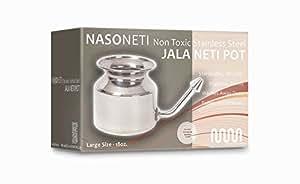 MasterMedi's NasoNeti Neti Pot Nasal System (18 Oz.) made of high quality Unbreakable Stainless Steel for Sinus Congestion (Ayurvedic JalNeti)