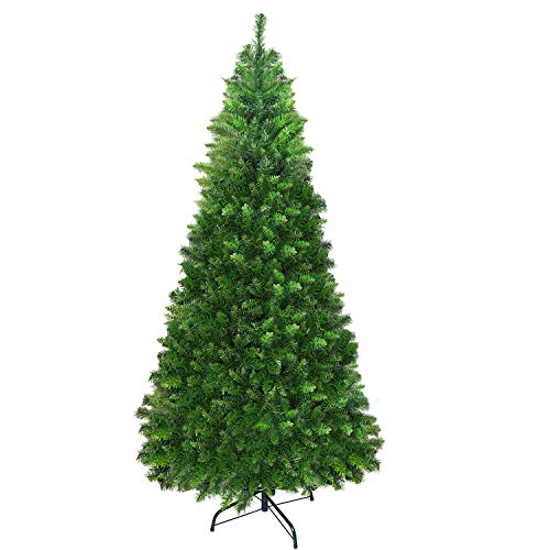 UHINOOS Hinged Fir Pencil Artificial Christmas Tree, Unlit Holiday Decoration Tree with Foldable Stand-Green (7.5FT) (6FT-900t) (Tree Reuse Christmas)