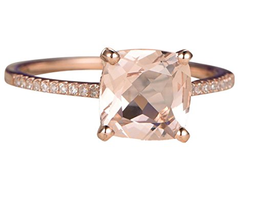 Limited Time Sale: 1.25 Carat Peach Pink Morganite (cushion cut Morganite) and Diamond Engagement Ring in 10k Rose Gold
