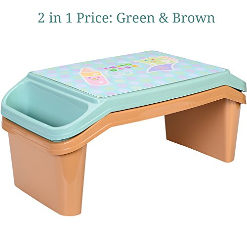 NNEWVANTE Lap Desk for kids with Storage Portable Children's Table for Homework or Reading Breakfast Bed Tray Child Art Plastic Stackable Table, Pack of 2 : Green and ()