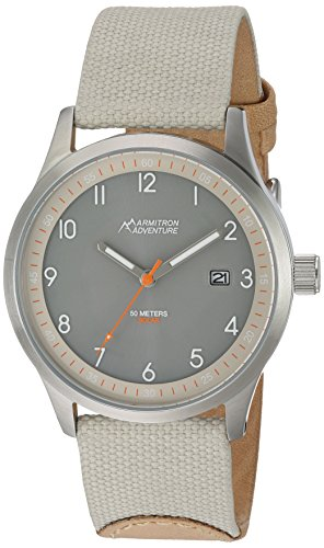 (Armitron Adventure Unisex AD/1007GYSVTN Solar Powered Date Function Dial Sand Colored Nylon Strap Watch )