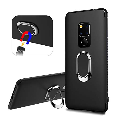 YiCTe Case for Huawei Mate 20,Creative 360 Degree Rotating Ring Holder Kickstand Cover Compatible with Magnetic Car Mount Shockproof Matte Soft TPU Stand Protective Case for Huawei Mate 20,Black