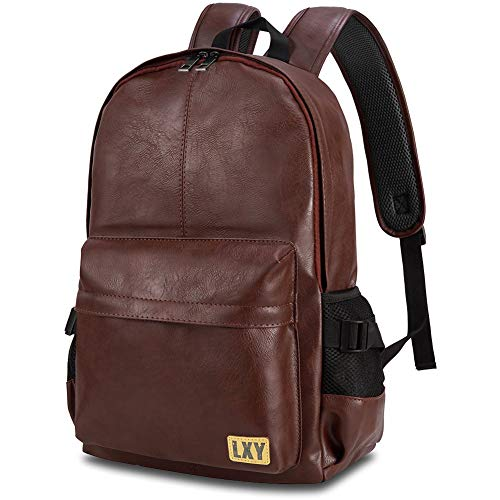 - Vintage Backpack Leather Laptop Bookbag for Women Men, LXY Vegan Backpack Brown Faux Leather Bookbag School College Campus Backpack Travel Daypack
