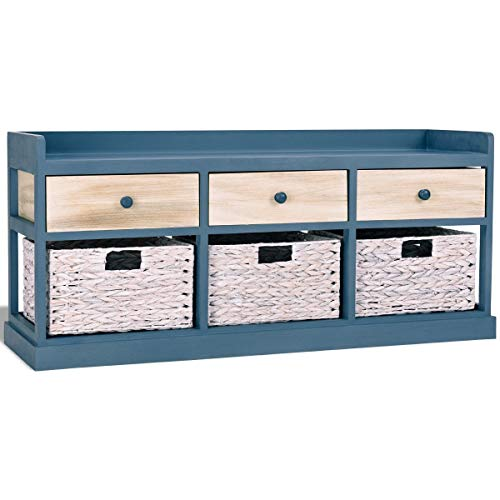 Side Table Chest Cabinet w/ 3 Wood Drawers and 3 Baskets with Ebook