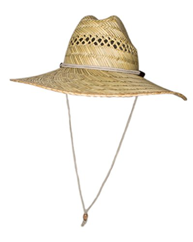 Men's Straw Outback Lifeguard Sun Hat with Wide Brim (Natural) by SUN & FUN - Happy Styles