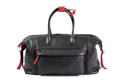 Genova Leather - Handmade Italian Leather Duffel - Genova - Onyx Black - Lava Red Trim (Onyx Black)