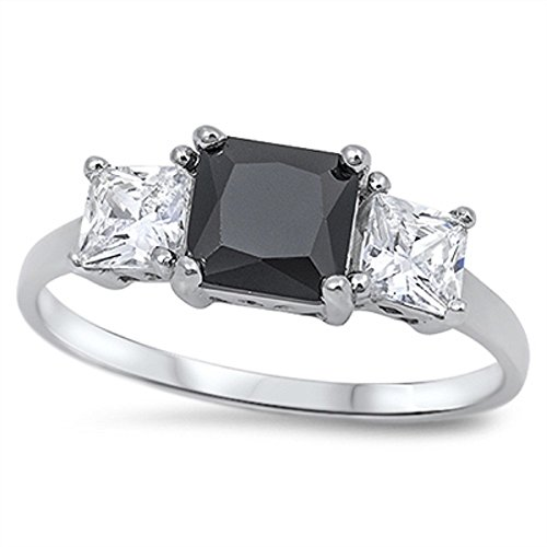 CloseoutWarehouse Square Black Cubic Zirconia Three Stones Ring Sterling Silver Size ()