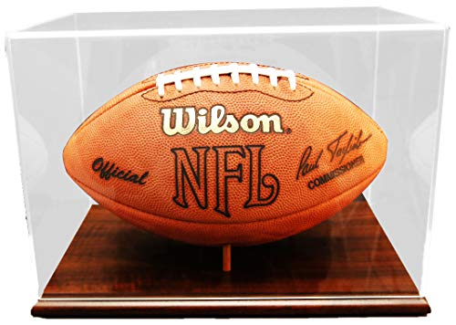 Walnut Finished Base Football Display - Acrylic Football Display Cases ()