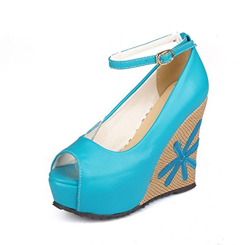 AllhqFashion Mujeres Sintético Peep Plataforma Sólido Hebilla Sandalia Azul