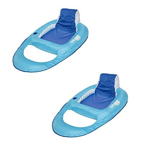 SwimWays Swimming Pool Spring Float Water Recliner w/Headrest, Blue (2 Pack)