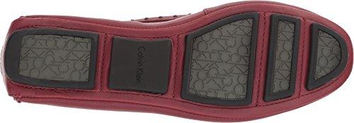 Calvin Klein Womens Lolly Slip-On Loafer Cherry Red Cow Silk/Tonal Studs F6sJ0