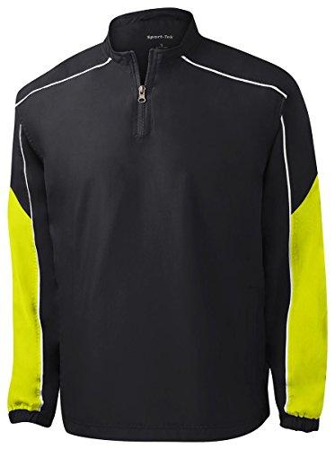 Sport Tek Men's Athletic 1 4-Zip Wind Shirt - Black/ Citron/ White JST64 XL