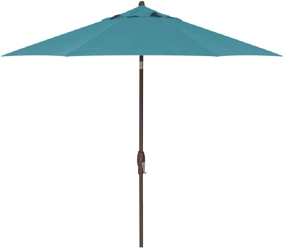 9-Foot Treasure Garden (Model 810) Deluxe Auto-Tilt Market Umbrella with Bronze Frame and Sunbrella Fabric: Aquatic (Includes 3 Year Extended Frame Warrantee)