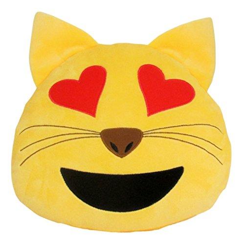 Kids Preferred Emoji Cat Plush with Heart Eyes, Small -