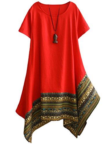 - Minibee Women's Ethnic Cotton Linen Short Sleeves Irregular Tunic Dress Red XL