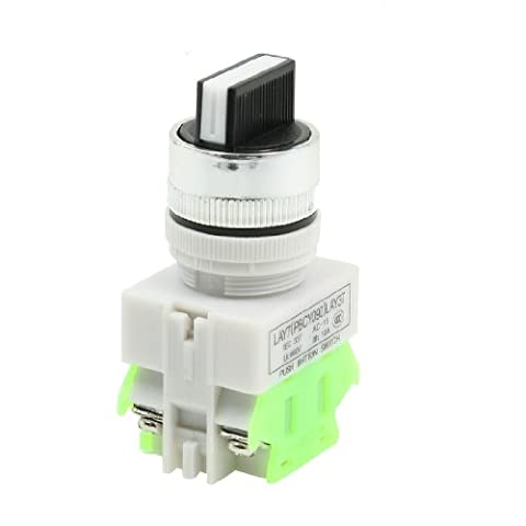 Uxcell AC660V 10 Amp DPST NO/NC 3 Position Rotary Selector Latching Push Button Switch