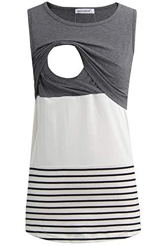 Smallshow Women's Maternity Nursing Tank Tops Stripe Pull-up Breastfeeding Shirt