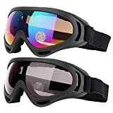 COOLOO Ski Goggles, Pack of 2, Snowboard Goggles for Kids, Boys & Girls