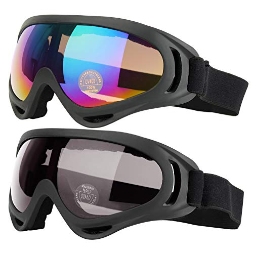 - COOLOO Ski Goggles, Pack of 2, Snowboard Goggles for Kids, Boys & Girls, Youth, Men & Women, with UV 400 Protection, Wind Resistance, Anti-Glare Lenses, Made, Multicolor/Gray
