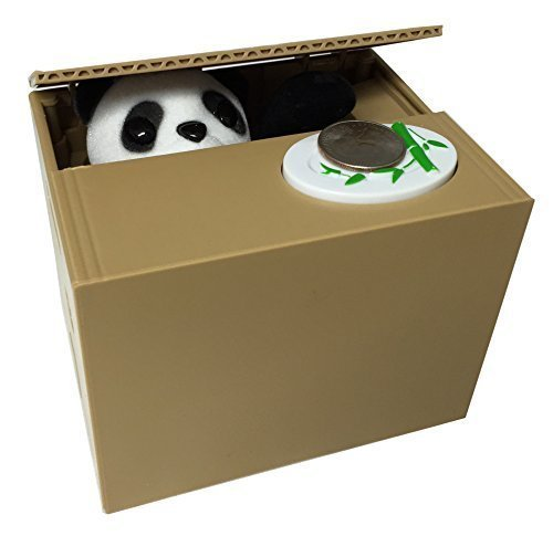 panda coin piggy bank saving box panda paw steals coins. Black Bedroom Furniture Sets. Home Design Ideas