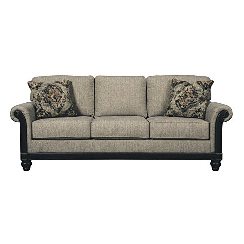 Ashley Blackwood 3350338 89″ Stationary Fabric Sofa with Rolled Arms Loose Seat Cushions and Pillows Included in