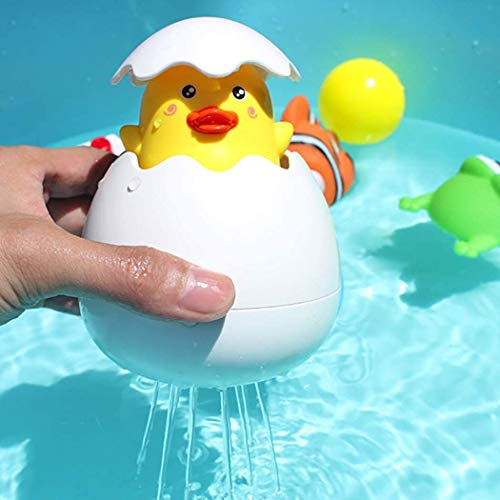 B bangcool Bath Water Squirting Toy, Fun Water Spray Sprinkle Bathtub Pool Bathroom Hatching Egg Toys (Yellow)