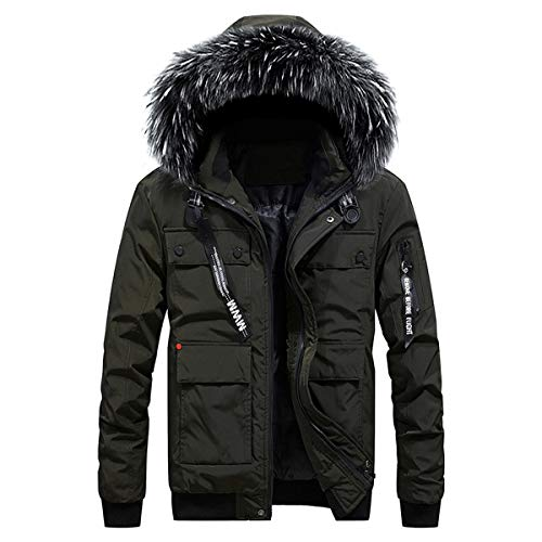 Hooded Thicken Winter Men's INVACHI Green with Jacket Pocket Autumn Cotton Army Multi Coat Warm Zipper 5Ugqax