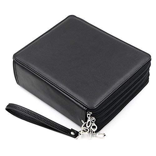 YOUNGCOL 184 Slot Colored Pencil Case - Deluxe PU Leather Pencil Holder Organizer(Black)