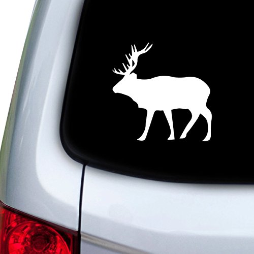 (StickAny Car and Auto Decal Series Moose Elk Sticker for Windows, Doors, Hoods (White))