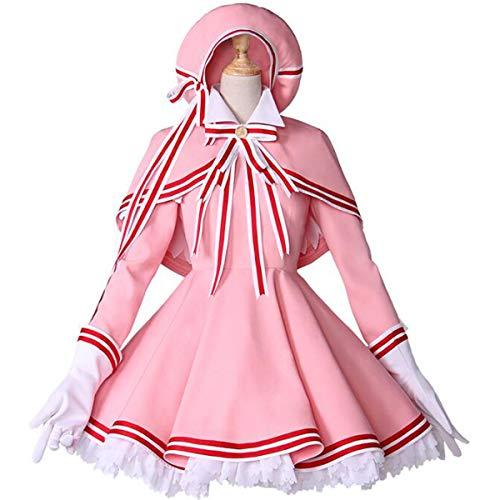 Poetic Walk Anime Card Captor Sakura Cosplay Halloween Kinomoto Sakura Dress (Small, A Set)