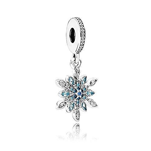 Romántico Amor Crystallized Christmas Snowflake Charm Sterling Silver Dangle Bead fit Pandora - Snowflake Christmas Charm