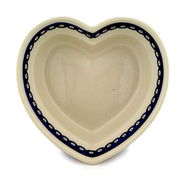 Hand-Decorated Polish Pottery Heart Bowl w 21.9cm, H: 7.7cm Volume 1.5Litres in design 41