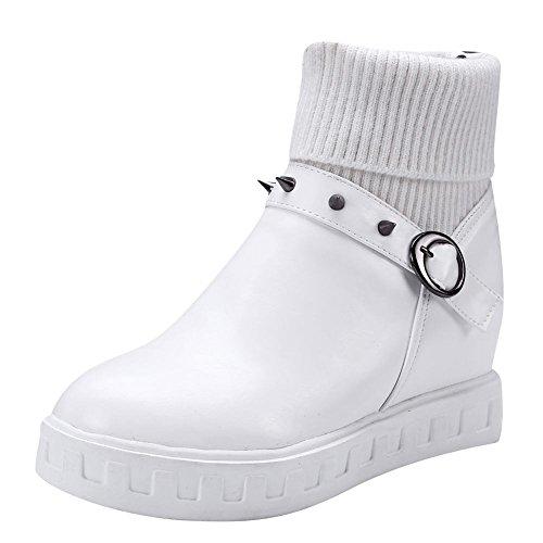 Mee Shoes Damen hidden heels mit Nieten Kurzstiefel Weiß