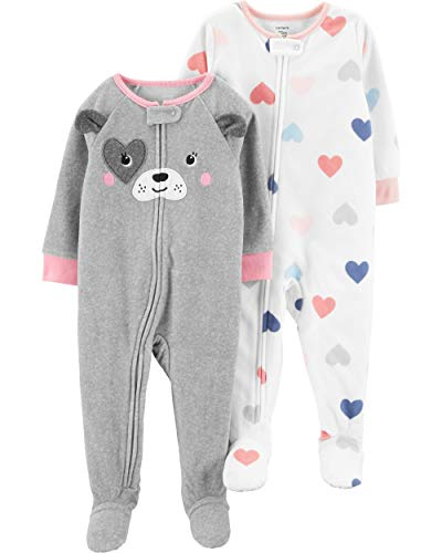 Carter's Baby Girls' 2-Pack Fleece Footed Pajamas (3T, Dog Face/Heart)