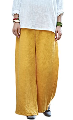 (Soojun Women's Casual Loose Fit Wide Leg Cotton Linen Palazzo Pants 2 Yellow)