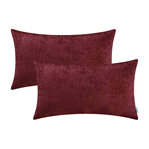 CaliTime Pack of 2 Cozy Bolster Pillow Covers Cases for Couch Sofa Home Decoration Solid Dyed Soft Chenille 12 X 20 Inches Burgundy